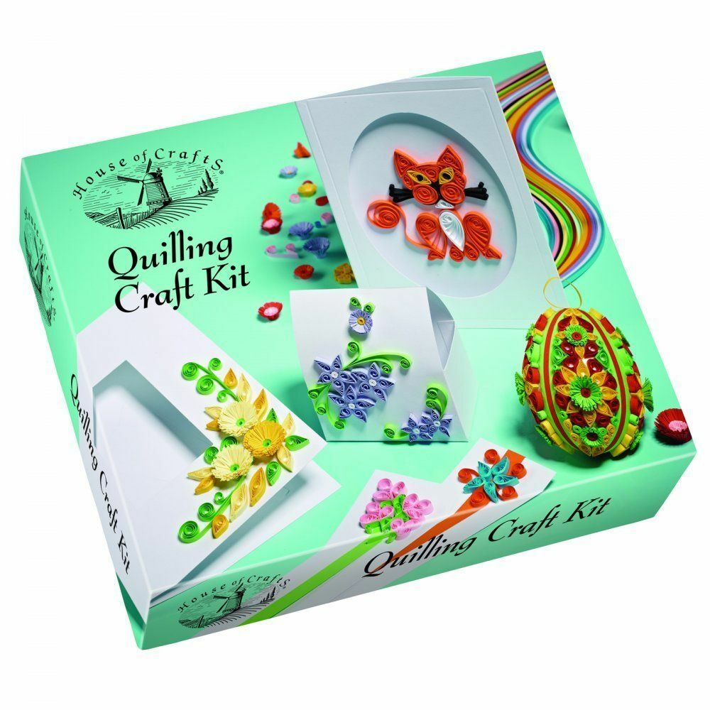 House of crafts quilling craft kit gift set paper pattern for Craft supplies for card making