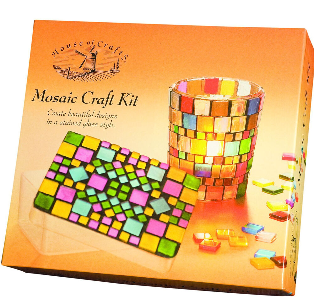 Craft: MOSAIC TILE CRAFT KIT CANDLE GLASS VOTIVE & TRINKET BOX
