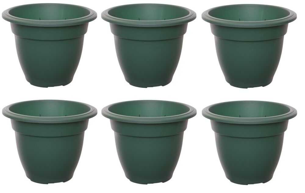 large 45cm round bell plant pots planters plastic green. Black Bedroom Furniture Sets. Home Design Ideas