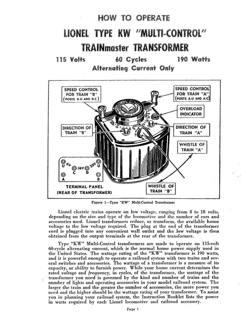 Need A Copy Of A Lionel Kw Transformer Manual Manual Guide