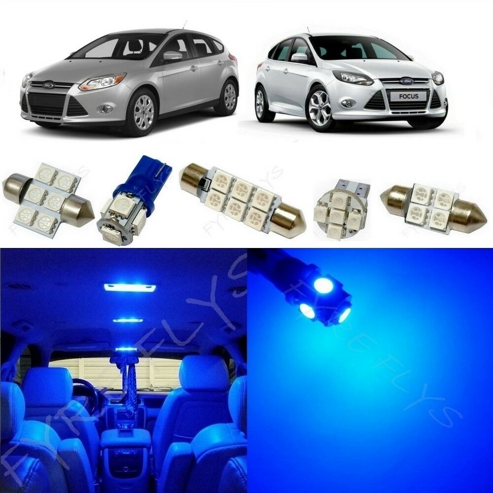 4 X Car White 12 Led Decorative Interior Floor Undercar: 6x Blue LED Lights Interior Package Kit For 2012-2014 Ford
