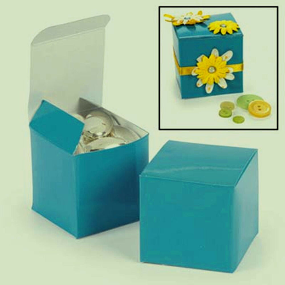 60 Aqua Turquoise Blue Square Favor 2x2x2 Gift Boxes