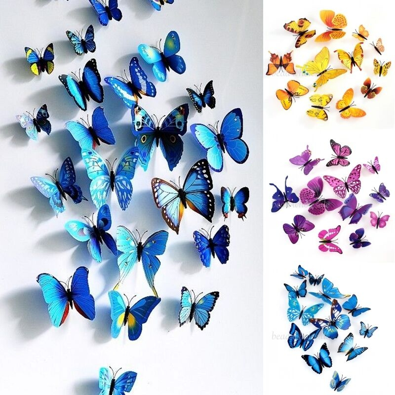 3d butterfly sticker art design decal wall stickers home room decoration diy ebay. Black Bedroom Furniture Sets. Home Design Ideas