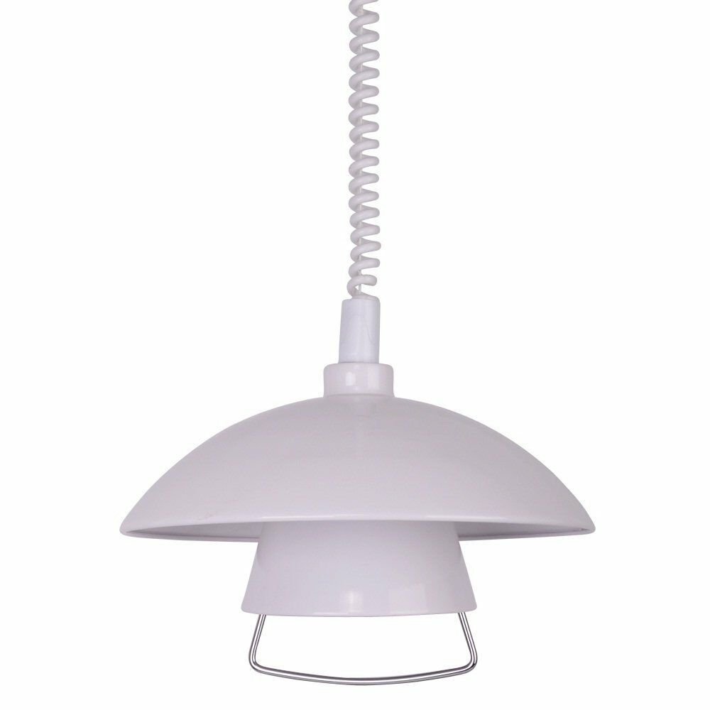 Rise And Fall Pendant Pull Down Ceiling Light White Metal