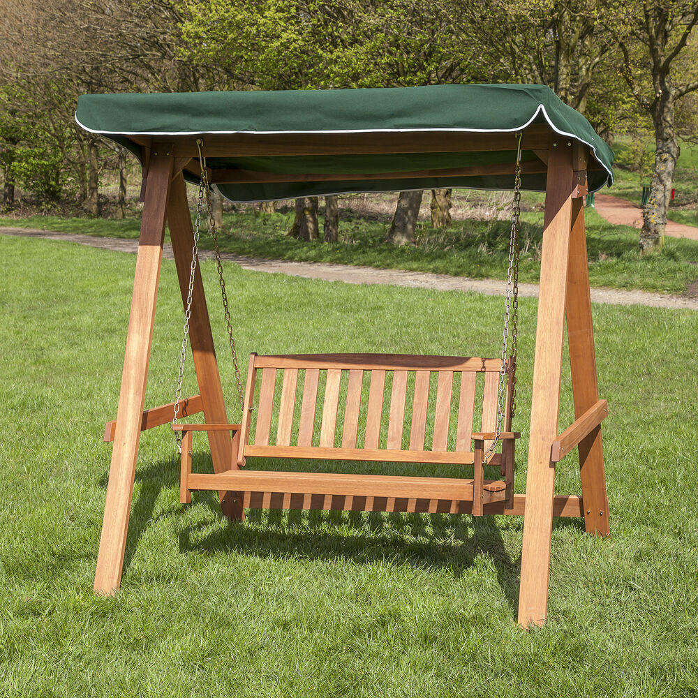 Alfresia wooden 2 seater swing seat with canopy choice for How to make wooden swing seat