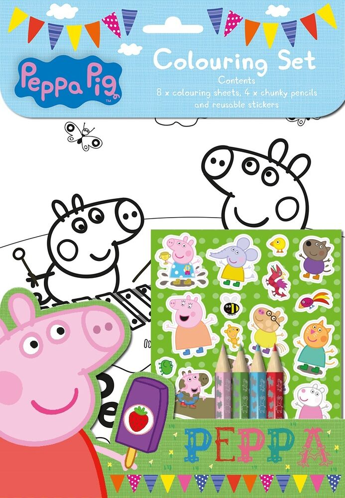 peppa pig colouring set with stickers pencils childrens