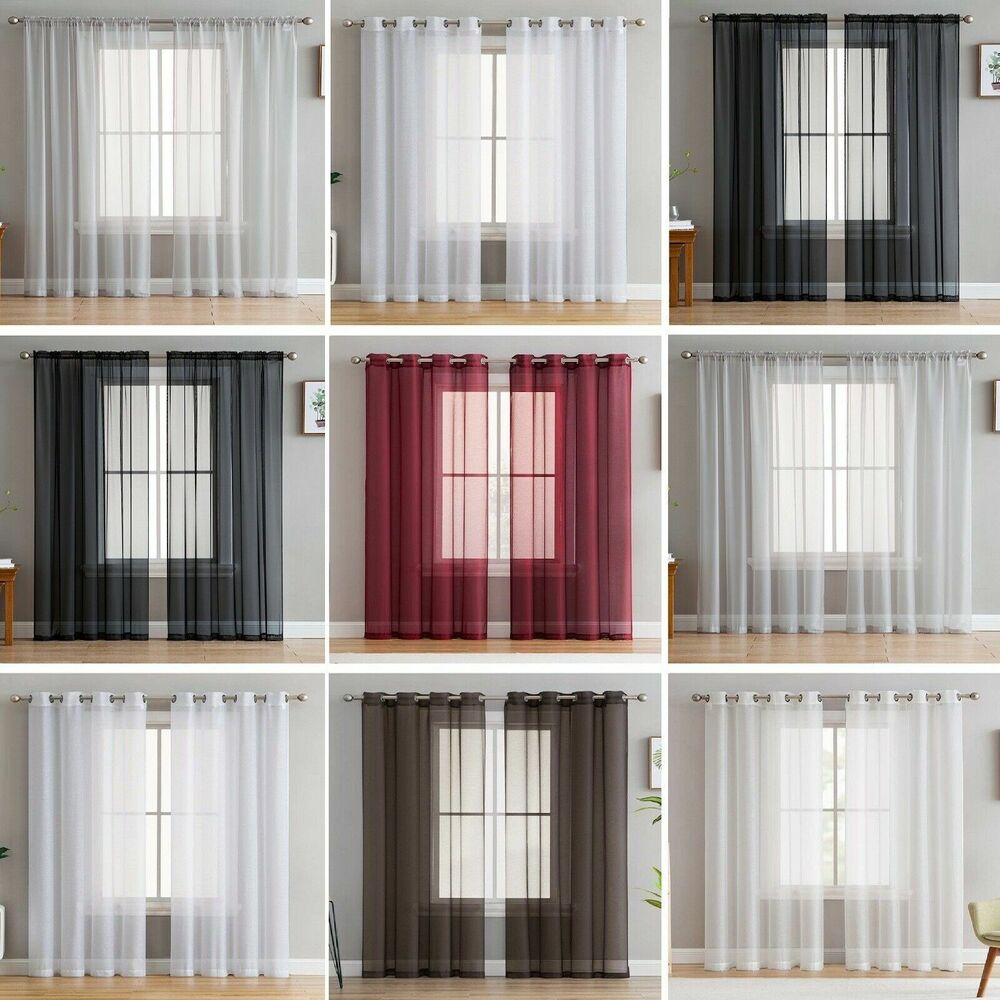 2 Slot Top Eyelet Or Tab Top Voile Net Panels Curtains