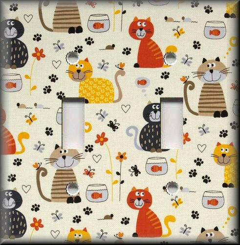 Metal light switch plate cover curious cats home decor for Cat decorations home