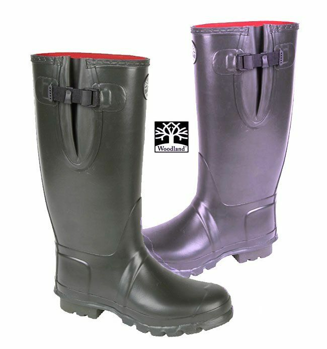 Woodland wellingtons neoprene lined thermal rubber boots for Rubber fishing boots
