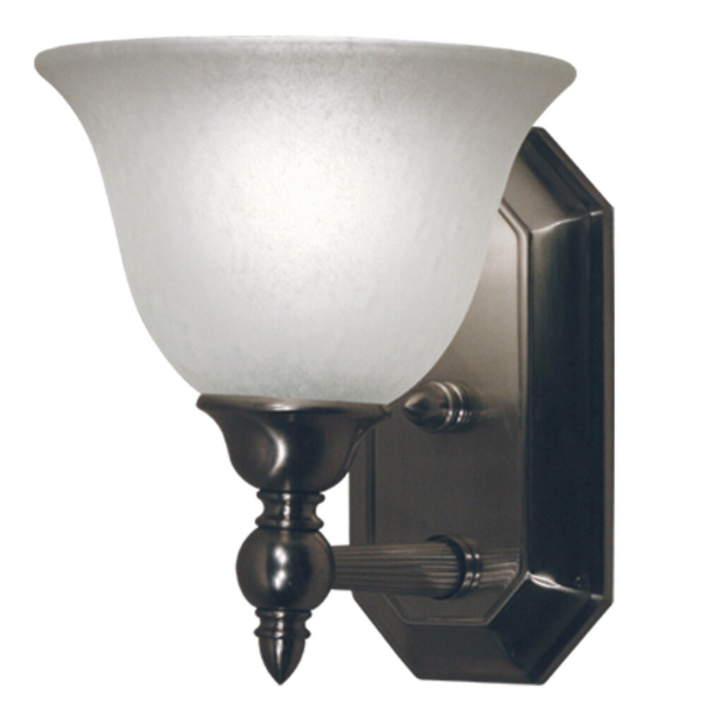 Brushed Nickel With White Feather Glass 1 Light Bath Wall Sconce Ebay
