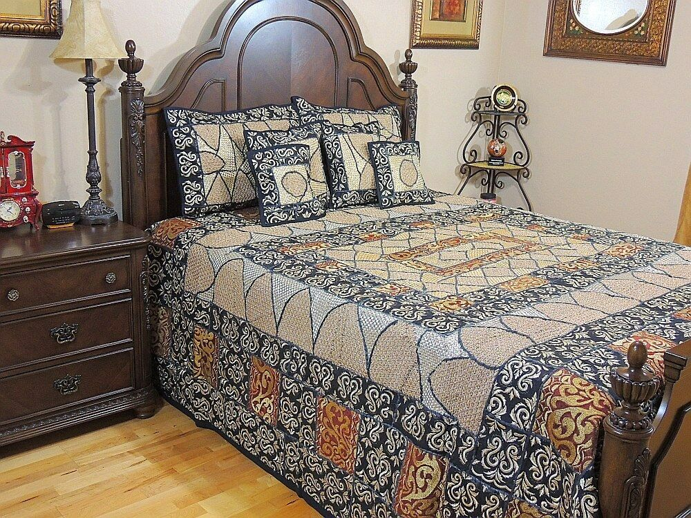 Handmade decorative gold duvet zari embroidery 7p sari for Decorative bed quilts