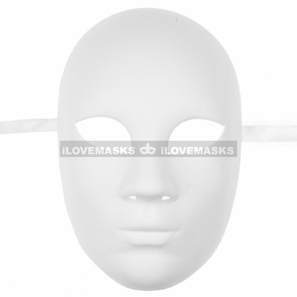 Plain white blank decorating craft full face masquerade for Craft masks to decorate