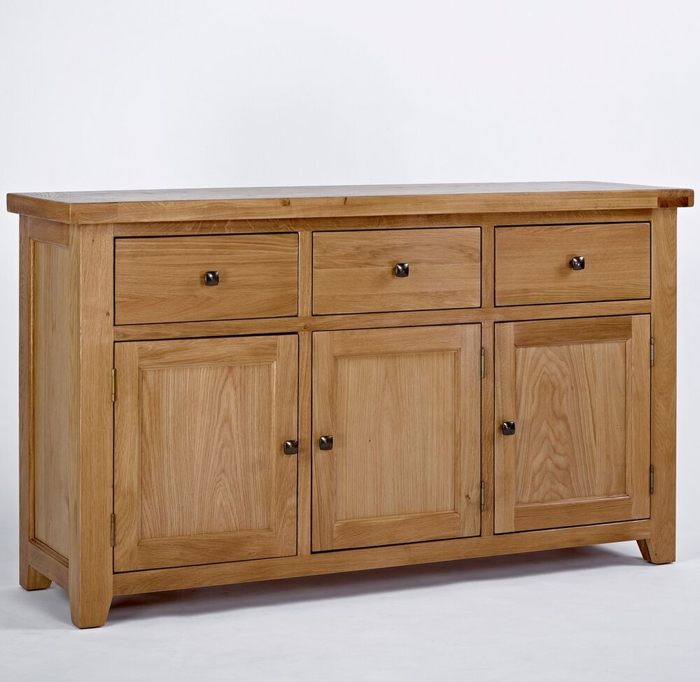 Loxley Solid Oak Living Dining Room Furniture Large 3 Door 3 Drawer Sideboard Ebay