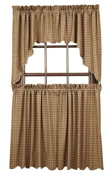 Tier primitive rustic cabin tan navy blue red cafe curtains 36 quot ebay