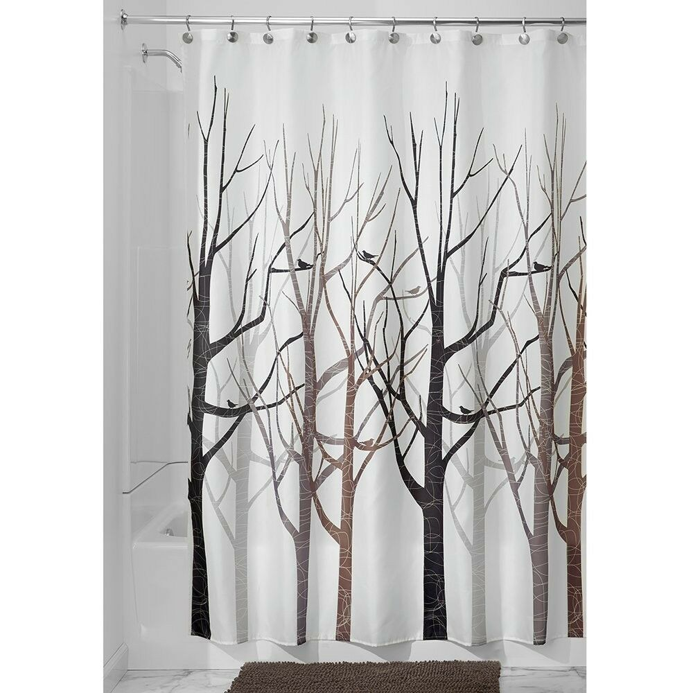 Shower Curtain Tree Forest Bird Black Grey Brown