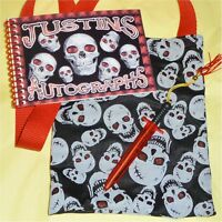 Personalized DISNEY PIRATE SKULL Autograph Book w/Matching Bag & Pen HALLOWEEN
