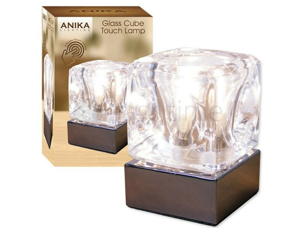 BEAUTIFUL CHROME & GLASS ICE CUBE BRIGHT HALOGEN LAMP ...