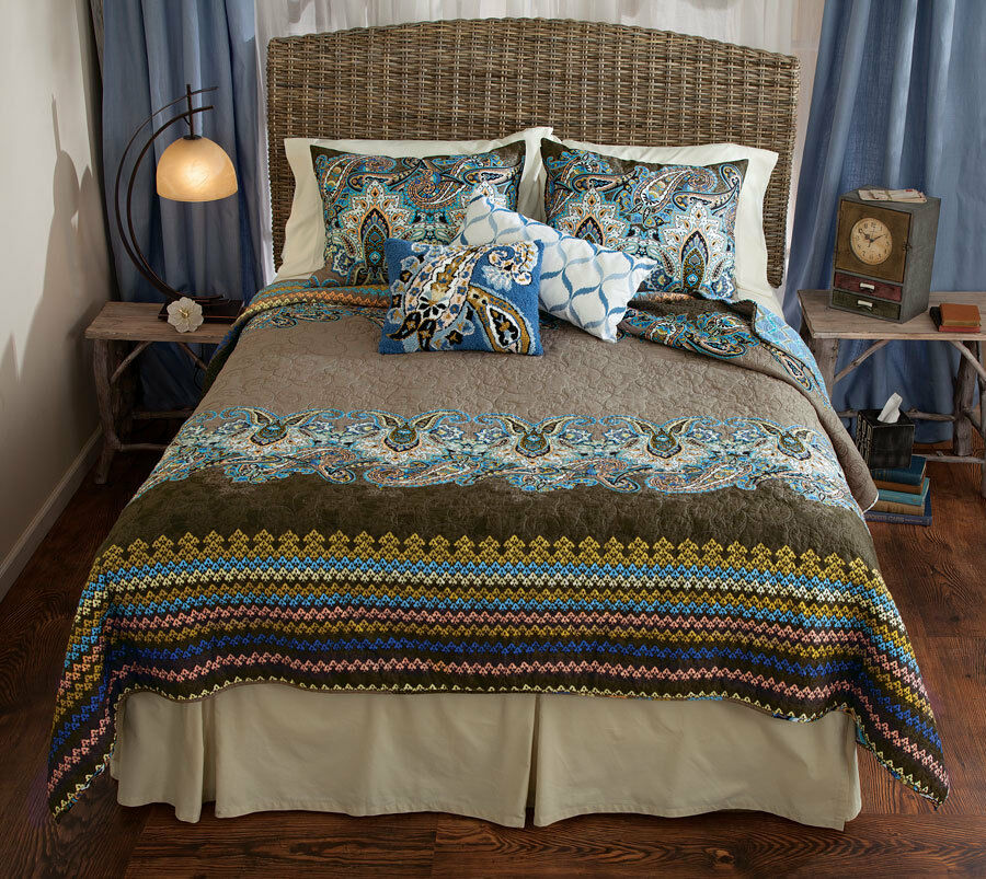 Boho Blue Brown Paisley Full Queen Quilt Set Nadia