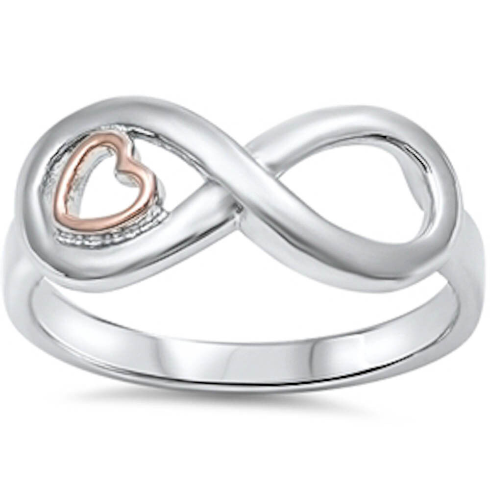 2 tone heart amp infinity 925 sterling silver ring sizes 4