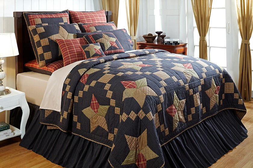 Country Blue Navy Star Twin Queen King Quilt Rustic Cabin