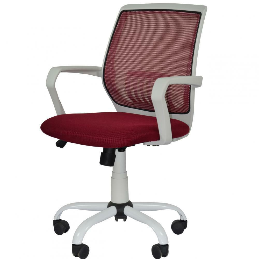 new burgundy mesh computer office desk midback task chair w metal base