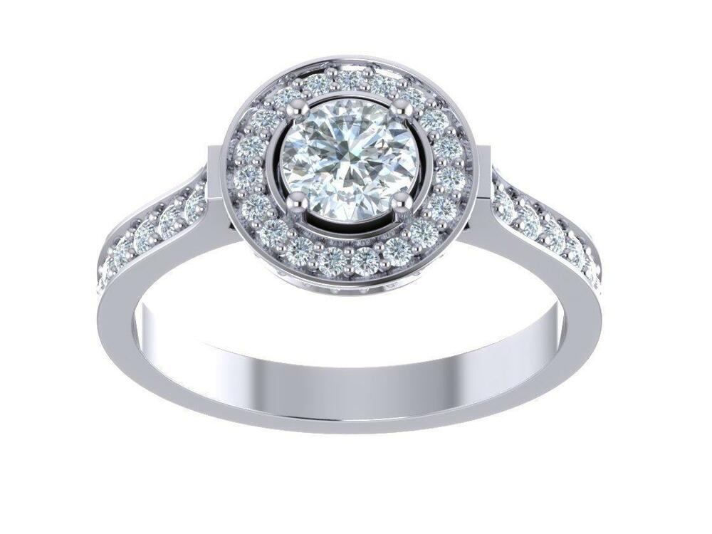 1 01ct Round Diamond White Gold Halo Set Solitaire Wedding