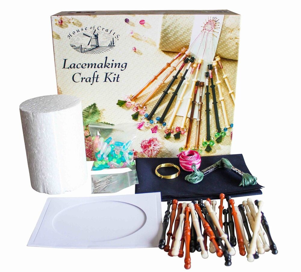 House Of Crafts Lacemaking Craft Kit Gift Set Bobbins Wire