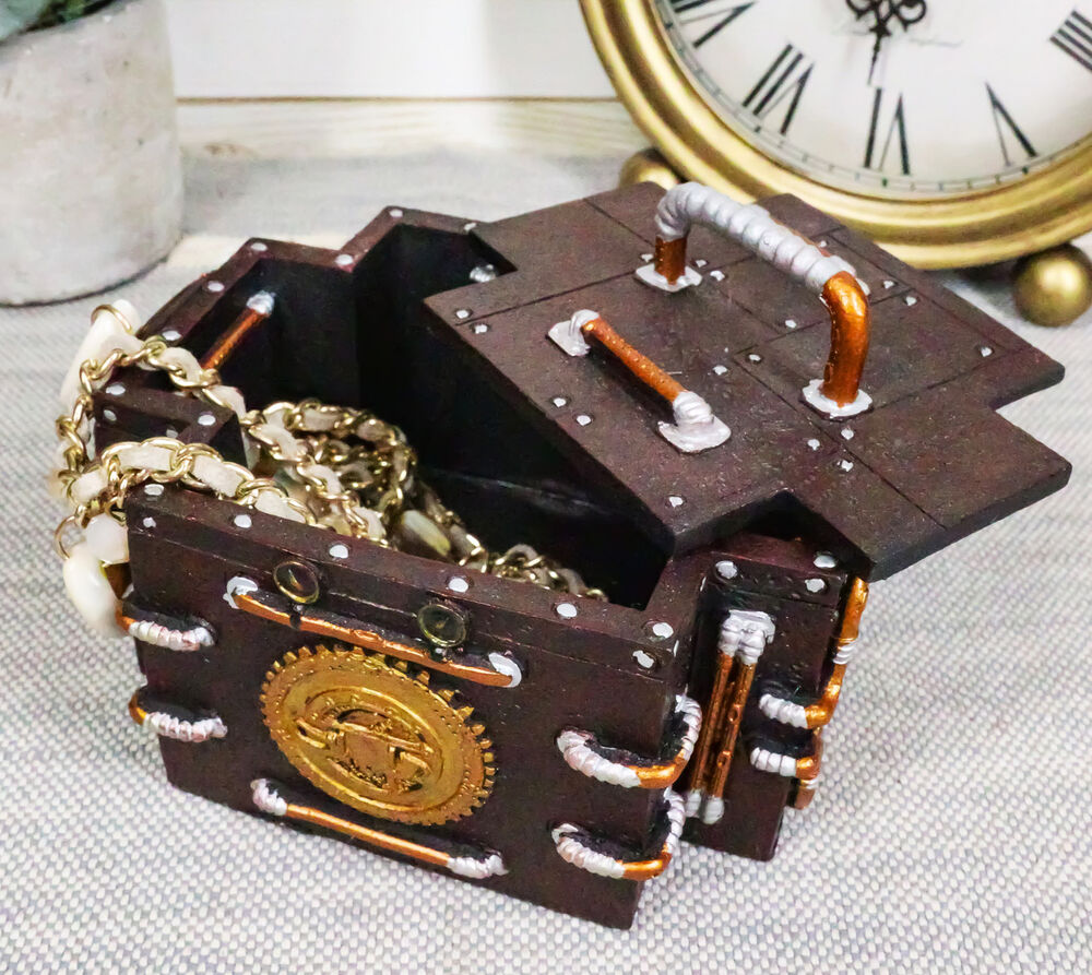 Ring In The Steampunk Decor To Pimp Up Your Home: VINTAGE STEAMPUNK GAUGE MEDIC JEWELRY BOX FIGURINE