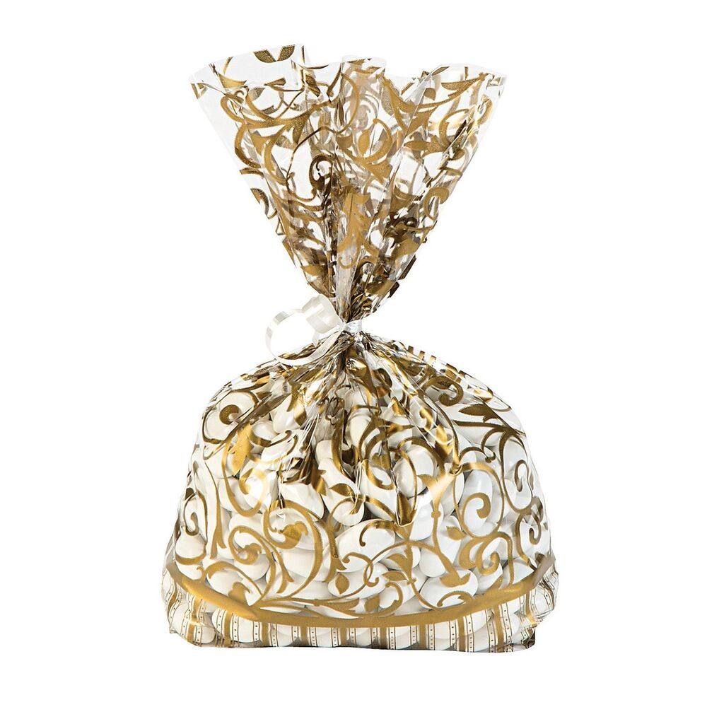 60 GOLD Swirl cellophane Loot BAGS Wedding Party supplies favors ...