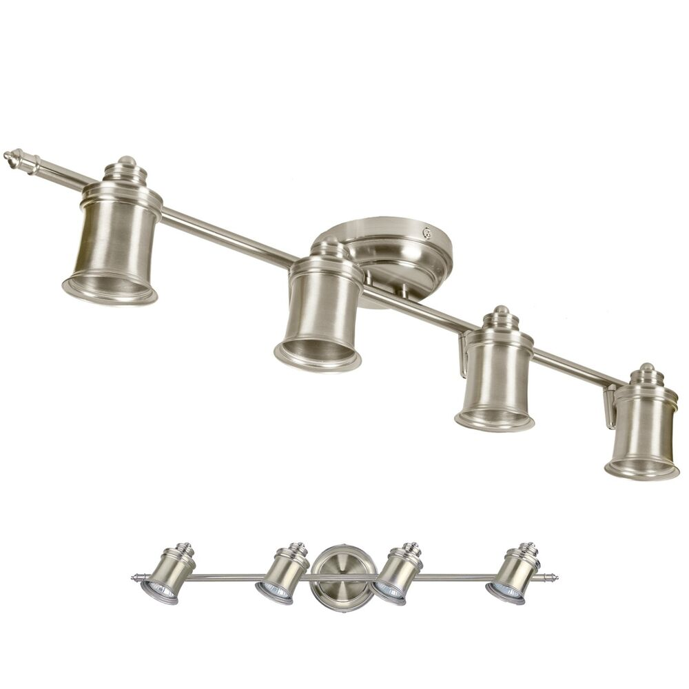 Brushed Nickel 4 Bulb Wall Or Ceiling Mount Track Light Fixture 730669635786
