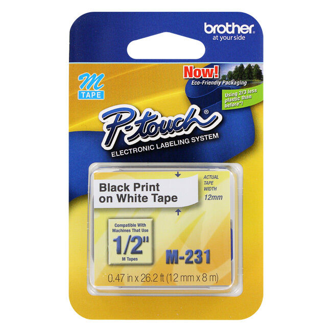 "Brother P-Touch Electronic Label Tape, 1/2"", Black Print"
