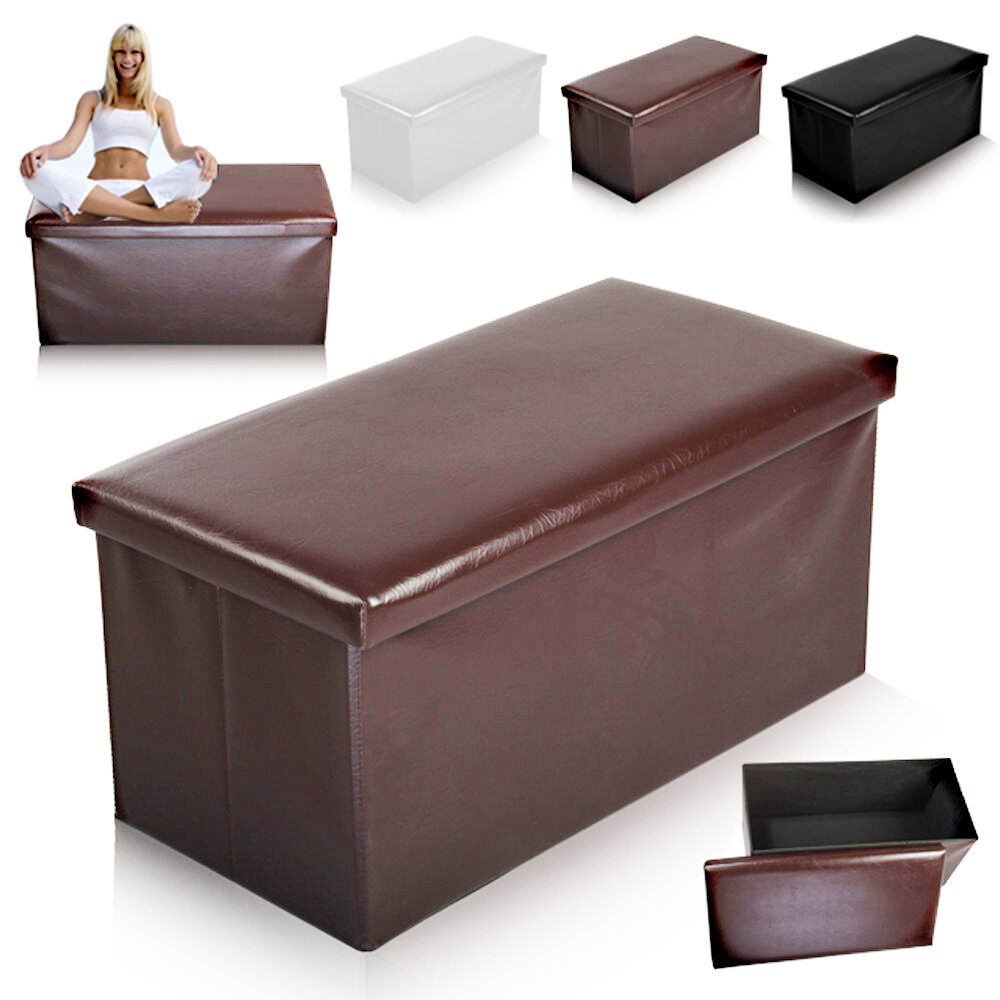 large ottoman faux leather stool folding seat chest. Black Bedroom Furniture Sets. Home Design Ideas