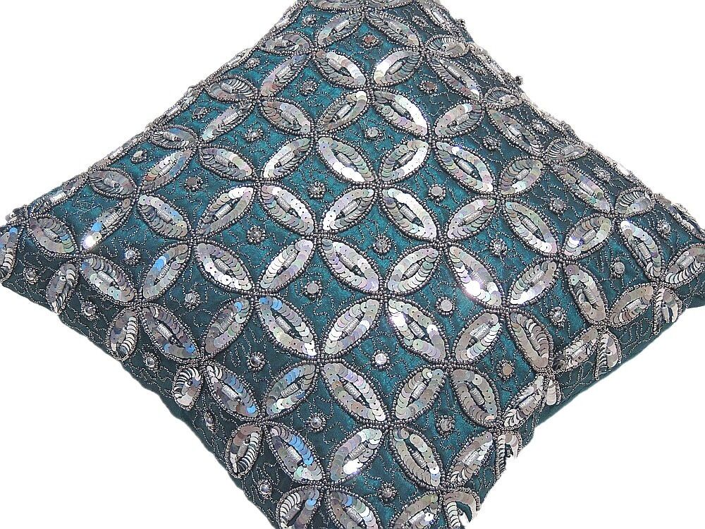 Decorative Pillows With Beading : Teal Beaded Couch Pillow Indian Handmade Decorative Living Room Cushion 16in eBay