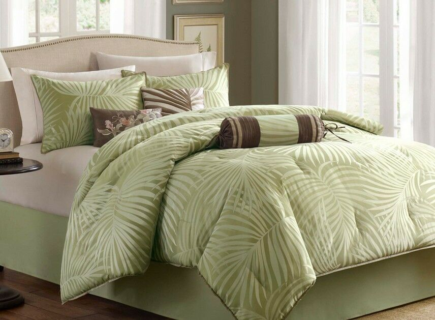Palm Leaf Tropical Beach House Queen Comforter Set 7