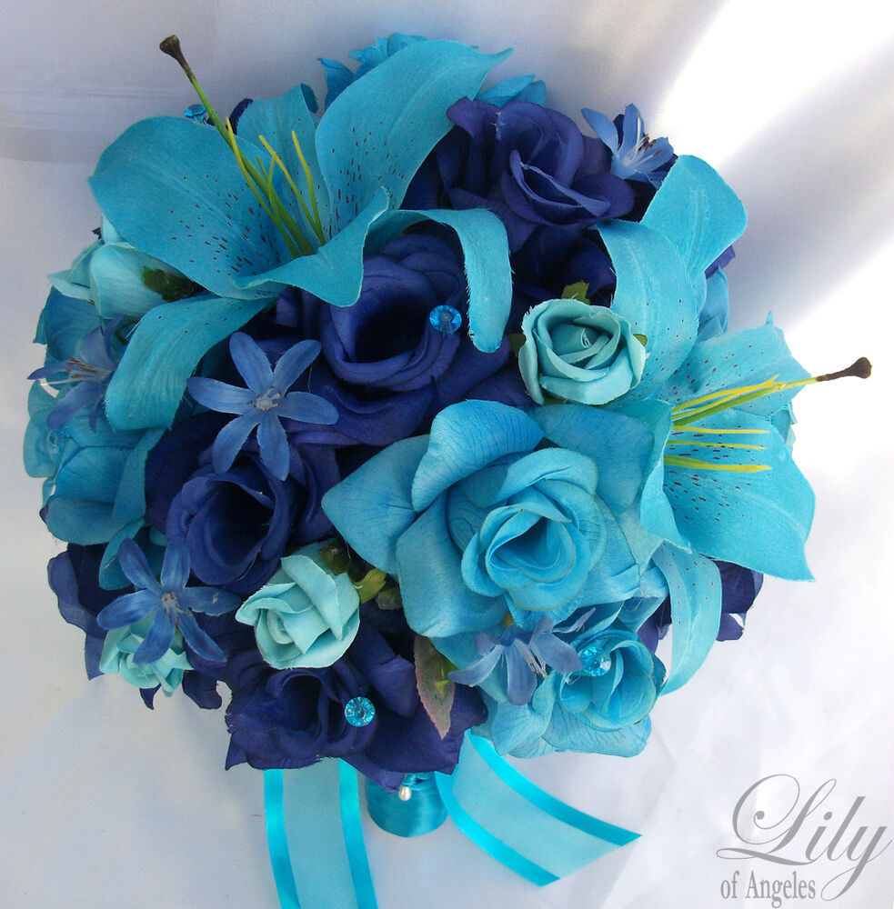 17pcs wedding bridal bouquet flower decoration bride package turquoise blue lily ebay. Black Bedroom Furniture Sets. Home Design Ideas