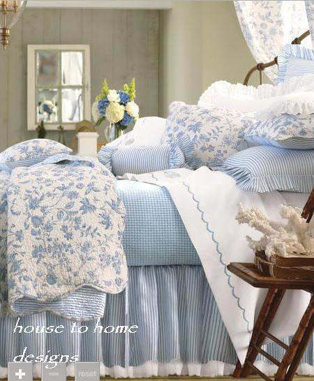 Brighton Blue Twin Single Quilt Set White French Country Toile Floral Ebay