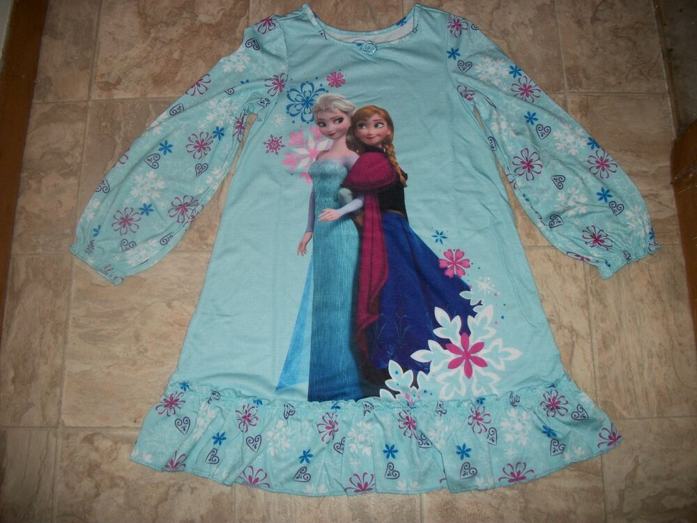 NWT DISNEY FROZEN ANNA & ELSA BLUE NIGHTGOWN PJ PAJAMAS GIRLS SZ 5 6 7 8 9 10