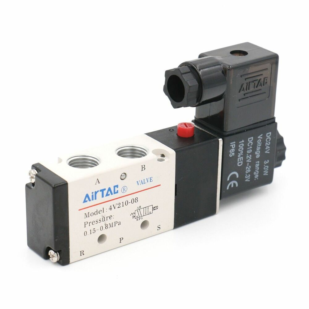 08: AIRTAC 4V210-08 DC24V Air Valve 5 Port 4 Way 2 Position