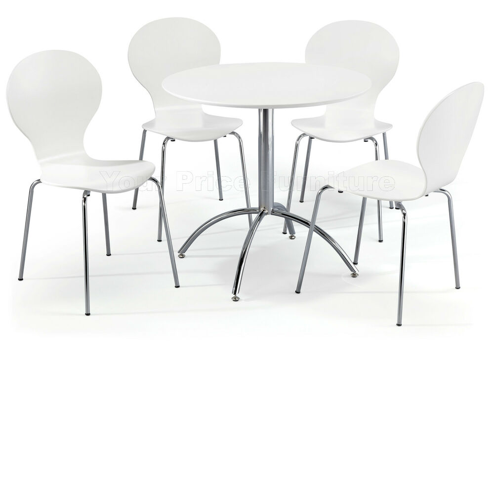 Dining set round white table and 4 white chairs chrome for White kitchen dining chairs