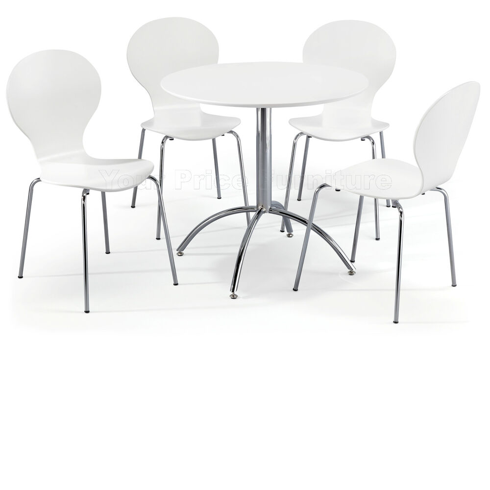 Dining Table Sets Black And White Dining Table 4 Chairs: Dining Set Round White Table And 4 White Chairs Chrome