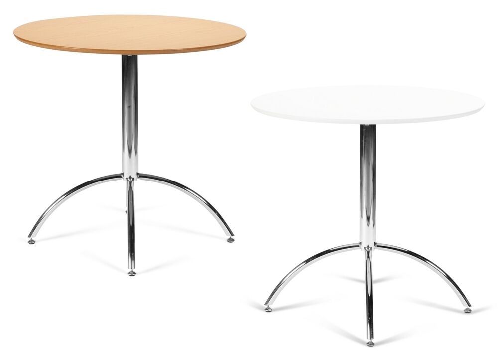 Small round kitchen dining table white or natural chrome metal bistro cafe ebay Small white dining table