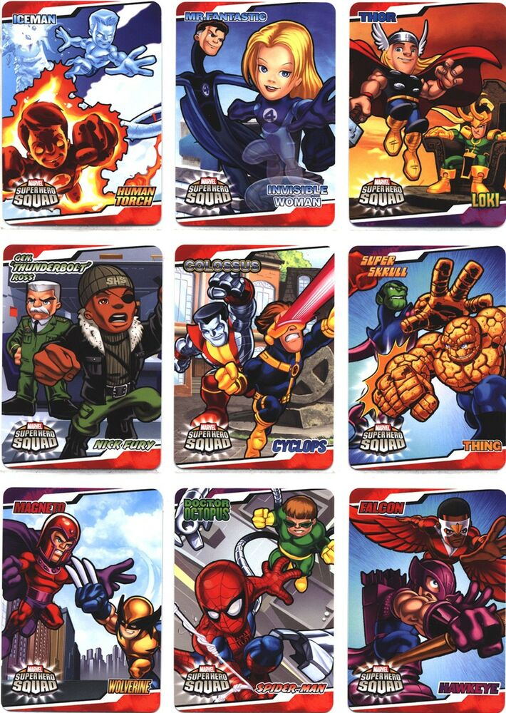 Marvel Malvorlagen Marvel Superhero The Marvel Super: Marvel Super Hero Squad Sticker Complete 10 Card Chase Set