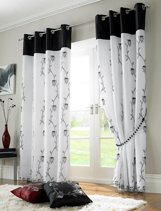 """... TOP LINED EMBROIDERED DRAPES CURTAINS 58"""" X 90"""" - 145 X 229CM 