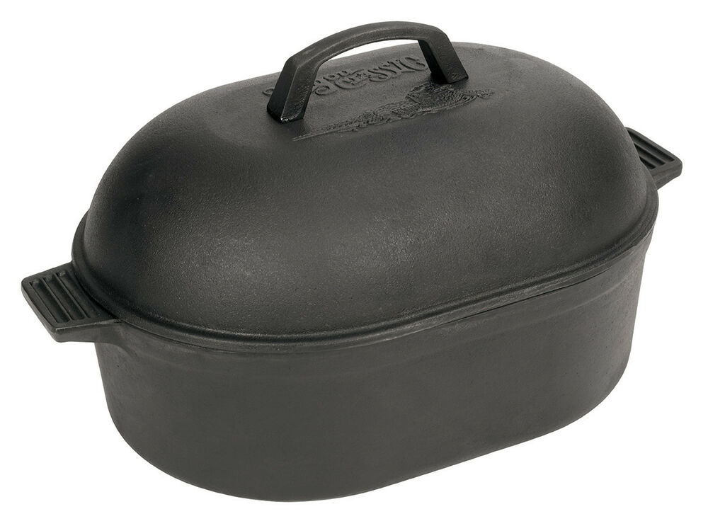 Bayou Classic 12 Quart Cast Iron Oval Roaster Dutch Oven W