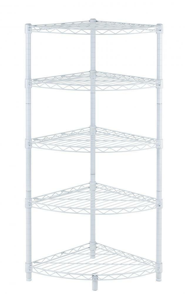 new white 5 tier corner rack display shelf kitchen storage. Black Bedroom Furniture Sets. Home Design Ideas