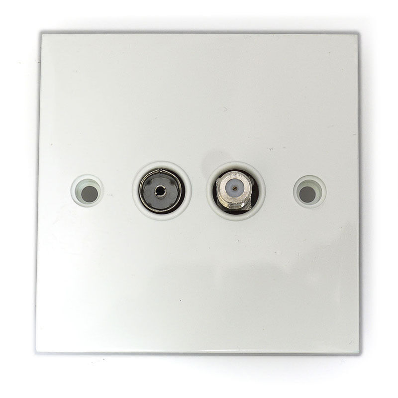 Coaxial Wall Mount : Flush mount wallplate with f connector for satellite and