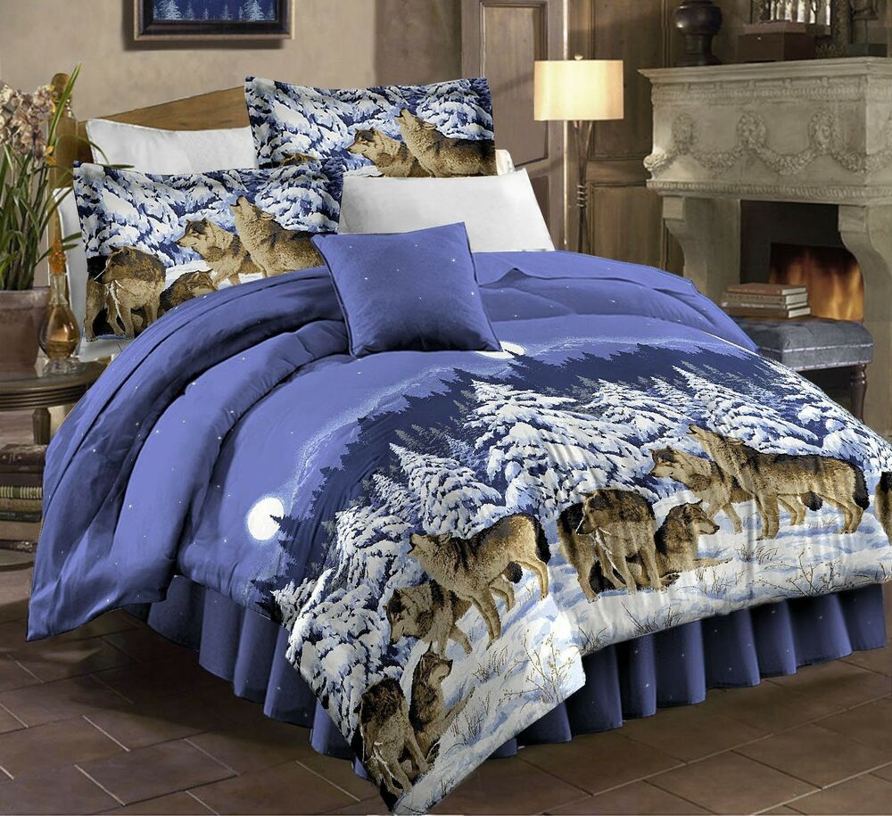 Mountain Home Cabin Lodge Wolf Wolves Twin Comforter Set