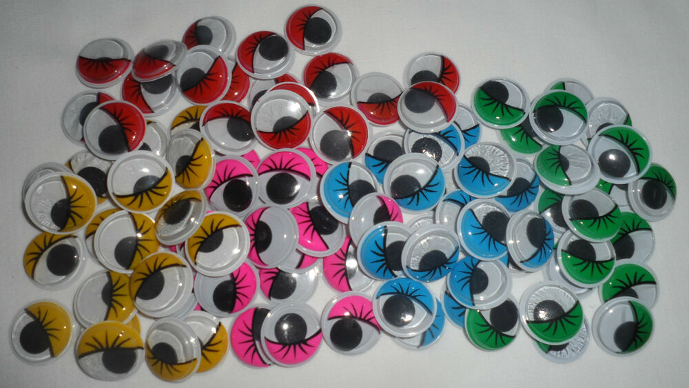 Eyelashes wiggly wobbly googly eyes coloured craft for Craft eyes with lashes