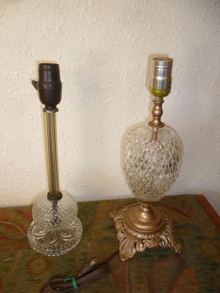 Vintage mid century modern classic style crystal glass table lamps