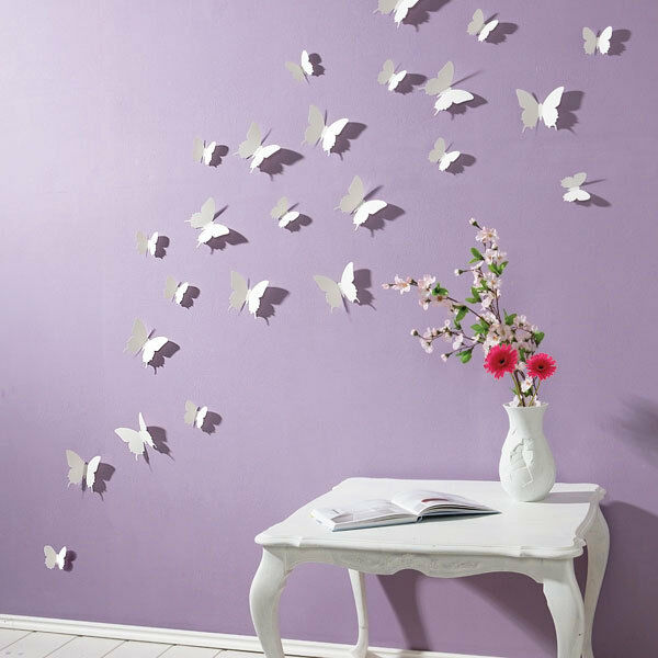 Butterfly Home Decor: WHITE 3D Butterfly Wall Stickers 15pcs Butterflies Home